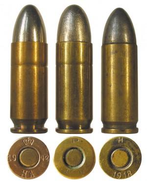 Датский 9 mm Bergmann-Bayard в сравнении с испанским 9 mm Largo и австрийским 9 mm Steyr