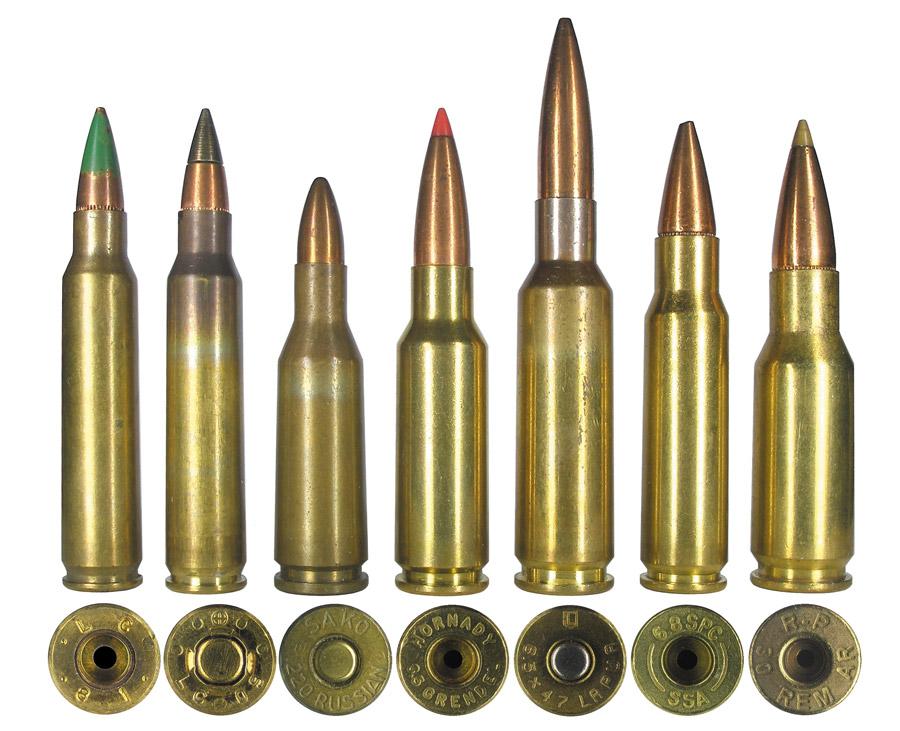 Штатные армейские автоматные патроны 5,56х45 NATO с пулями М855 и М855А1 в сравнении с современными разработками: .220 Russian (основа для разработки некоторых современных патронов), 6,5 Grendel, 6,5x47 Lapua, 6,8 mm SPC и .30 Remington AR