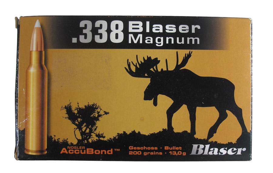 «Фирменная» коробка от патронов .338 Blaser Magnum