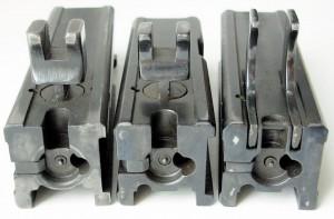 Затворы К6-92, укороченного К6-92 и К6м (слева направо)