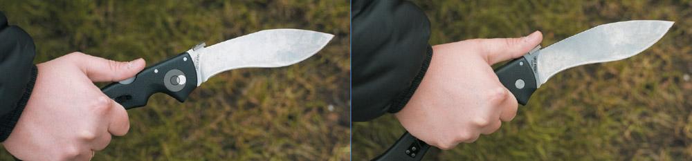 Нож можно (и нужно!) использовать двумя типами хвата: рука ближе к клинку для реза и рука ближе к концу рукоятки для рубки