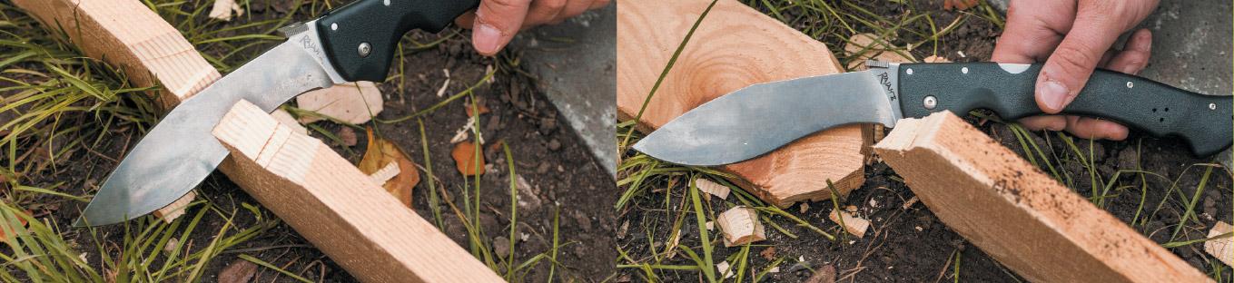 На охоте фотоаппарата не было — поэтому рубку настоящего дерева ножом Rajah II иллюстрируем с помощью разрубания доски (20-25 секунд — и готово!)
