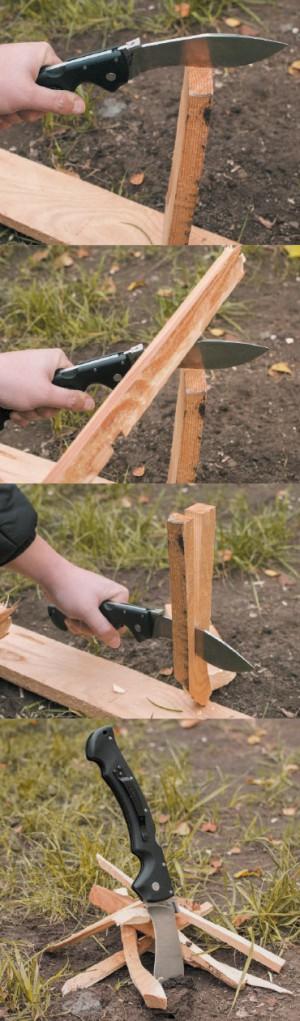 Заготовка щепок для костра. Очень важно наносить удары по обуху ножа, а не по рукоятке