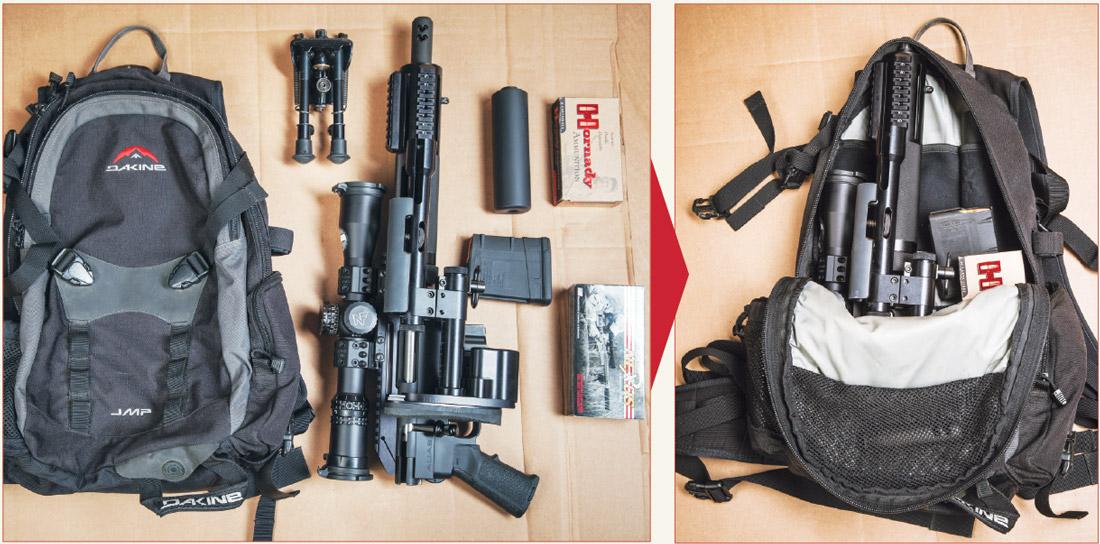 Винтовка Alias CS5 со всем необходимым может без труда разместиться в небольшом городском рюкзаке