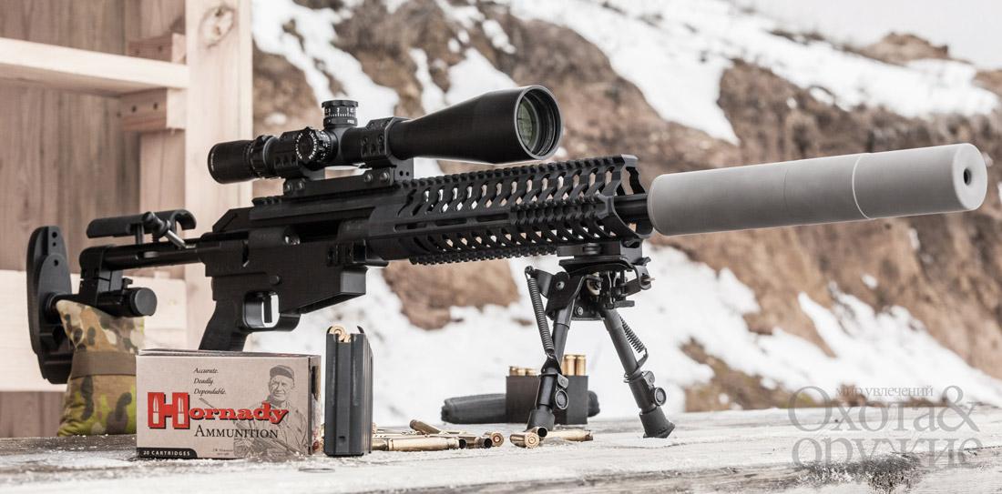 Star Quad— универсальная спортивно-тактическая винтовка семейства McMillan Alias. Установлен саунд-модератор Ase Utra