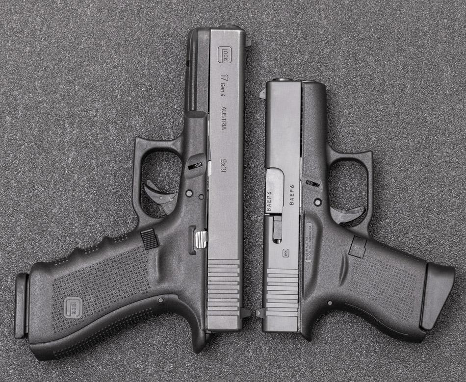 Стандартный Glock 17 и «малыш» Glock 43—сравнение габаритов