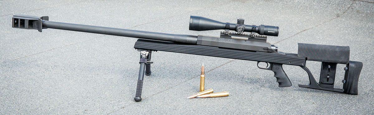На фото однозарядная Armalite AR-50A1 производит впечатление элегантной и не слишком габаритной винтовки. А вот в жизни...