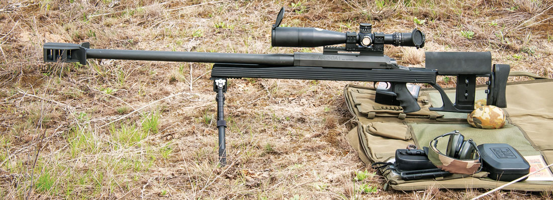 Armalite AR-50A1 на позиции для стрельбы на 1500 метров