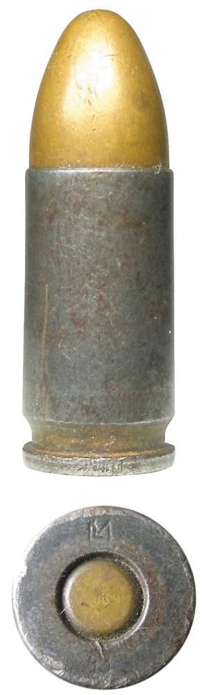 Венгерский патрон 9х19 со стальной лакированной гильзой, изготовленный в 1943г.