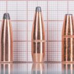 Даже у охотничьих полуоболочек с соотношением «длина/масса» не все просто (0,308'', слева направо: PPU SP 150 гран, Hornady BTSP 165 гран, Speer DeepCurl 170 гран)