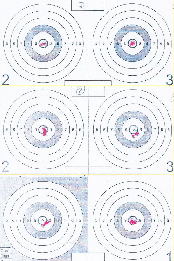 Контрольный отстрел на к учность (дистанция 25 м). Cверху вниз: Raptor 3, Broсock S6, Diana 430