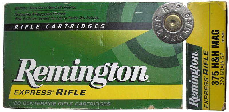 Компания Remington Arms Company выпускает патроны .375 Holland & Holland Magnum Belted с пулями A-Frame PSP массой 300 гран (19,4 г) и Soft Point массой 270 гран (17,5 г)