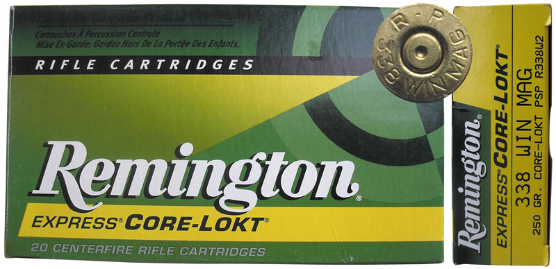 Компания Remington Arms Company выпускает патроны .338 Winchester Magnum с пулями Core-Lokt Ultra Bonded массой 225 гран (14,6 г), A-Frame PSP массой 225 гран (14,6 г) и Core-Lokt Pointed Soft Point массой 225 гран (14,6 г) и 250 гран (16,2 г)