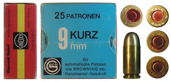 Патроны 9mm Kurz немецкой компании Geco: патрон производства 1930-х годов, упаковка и образец патрона послевоенного выпуска и образцы клеймения патронов от 1967, 1970 и 1976 гг.