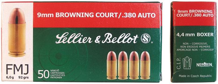 Современный коммерческий патрон 9х17 Browning, его маркировка и картонная упаковка производства чешской компании Sellier&Bellot из г. Влашим
