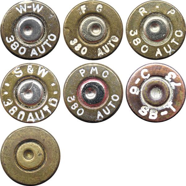 Маркировка на коммерческих патронах 9х17 Browning (380 AUTO): код W-W— Winchester, г. Ист-Альтон, штат Иллинойс, США; код FC— Federal Cartridge Co. Г. Анока, штат Миннесота, США; код R-P— Remington Arms Company, Inc., г. Бриджпорт, штат Коннектикут, США; код S&W— Smith & Wesson Ammunition Company, г. Рок-Крик, штат Огайо, США; код РМС— Poongsan Metal Manufacturing Company Ltd., г. Сеул, Республика Корея; код SB-T— Empresa Nacional Santa Barbara de Industrias Militares, SA, г. Толедо, Испания; без маркировки— производитель неизвестен