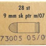 Картонная коробка от шведских боевых патронов 9 mm skarpa patroner m/07