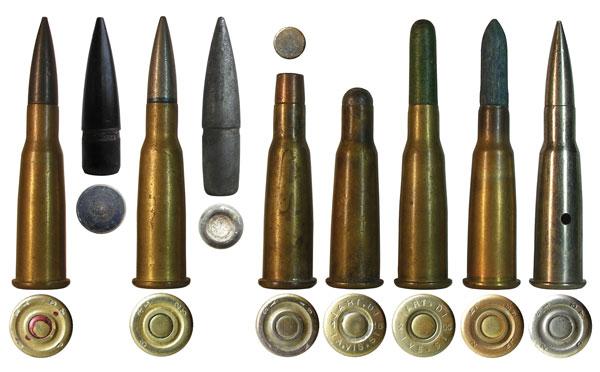 Французские специальные и вспомогательные патроны 8x50R Lebel: с бронебойной пулей APX4, с трассирующей пулей Т, короткобойный патрон с обрезанной боевой пулей (Cartouche Mle 1886 D, a balle sectionnee), короткобойный патрон с круглой свинцовой пулей второго типа Mle 1895 (2eme type), холостой патрон с бумажной пулей Mle 1897, холостой патрон с деревянной пулей Mle 1905-27, учебный патрон Mle 1907