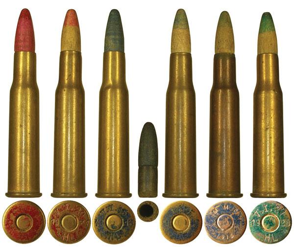 Холостые патроны: 1, 2 — ранний и поздний варианты патрона М1889; 3-5 — ранний и поздний патроны М1889/03 для пулеметов; 6 — холостой патрон, пришедший на замену двум предыдущим образцам. Окраска дна гильз в красный и зеленый цвет означает снаряжение бездымным порохом