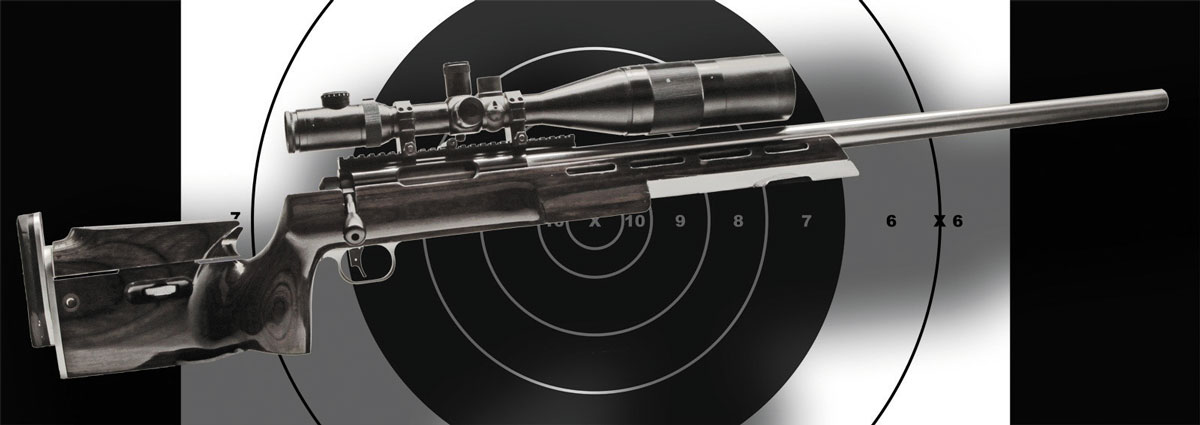 Типичная конфигурация винтовки для F-класса (калибр .300 WSM, затвор Barnard, ложа из ламината, регулируемые щека и затыльник приклада)