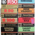 Картонные коробки на 50 патронов .22LR торговой марки RWS фирмы Dynamit Nobel