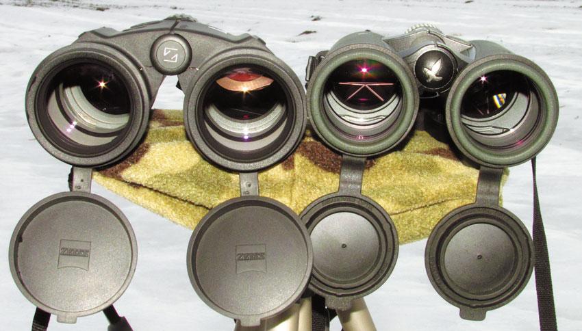 Объективный взгляд. Обратите внимание на больший диаметр линз объективов бинокля Zeiss (однако за счет разницы в месторасположении электронной начинки эффективные диаметры объективов равны)