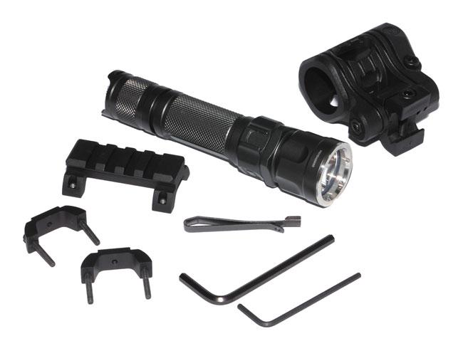 Фонарь можно установить на гладкоствольное ружье при помощи универсальных креплений CAA: SGR1 (база Пикатинни с креплением на ствол) и UFH3 (5-позиционное крепление для фонаря с диаметром корпуса 24,4-27мм к базе Пикатинни)