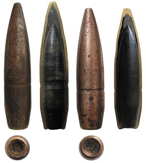 Общий вид и разрезы обычных пуль калибра .50: Ball M1 (слева) и Ball M2 (справа)