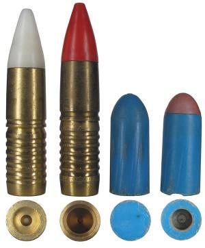 Современные пули .50 BMG для практической стрельбы на короткие дистанции: обычная немецкого производства, трассирующая немецкого производства, обычная Ball, Plastic Practice, M858 и трассирующая пуля Tracer, Plastic Practice, M860
