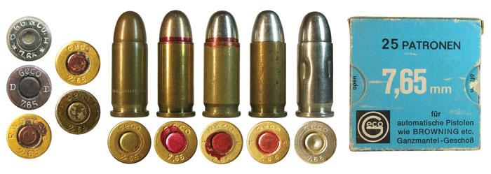 Клейма 7,65-мм патронов фирмы Geco до 1945 года выпуска и варианты исполнения послевоенных патронов