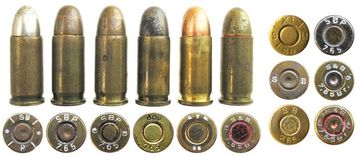 7,65-мм патроны компании Sellier & Bellot разных лет выпуска