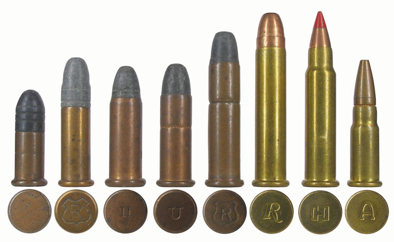 Различные «мелкашки» бокового воспламенения: .22 Short (США, 1857 г.), .22 Long Rifle (США, J. Stevens & Co., 1887), .22 Winchester Rimfire Automatic (США, Winchester, 1903 г. ), .22 Remington Automatic (США, Remington, 1916 г. ), .22 WRF; .22 Winchester Magnum Rimfire (США, Winchester Repeating Arms Co, 1959 г.); .17 Hornady Magnum Rimfire (США, Hornady, 2002 г.); .17 High Standard (Мексика, Aguila, 2003 г.)