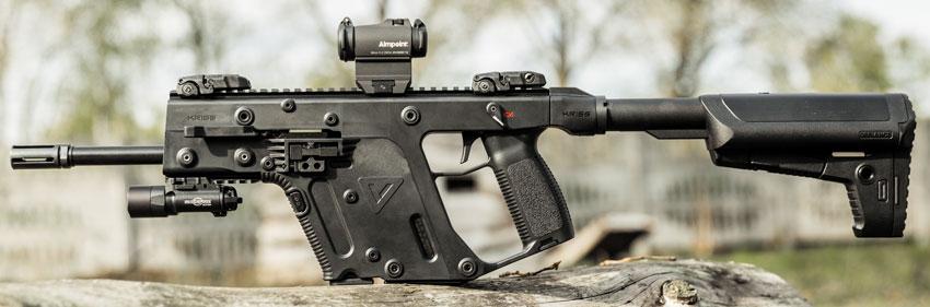Охотничий карабин KRISS Vector SBR: общая масса оружия с прицельными приспособлениями Magpul MBUS — 3,25 кг (без магазина), общая длина — 805 мм