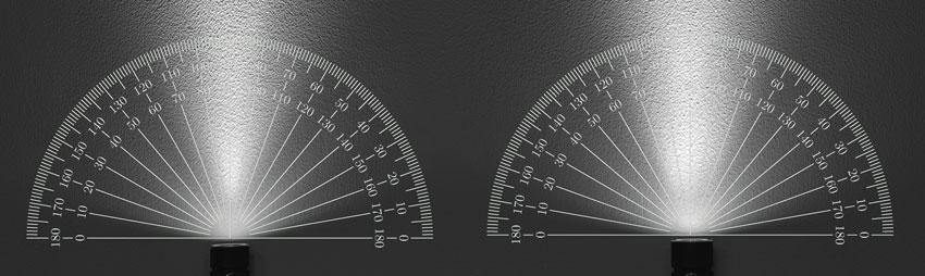 Наглядная демонстрация работы TIR-линзы: широченный световой луч идеально подойдет для повседневного фонаря