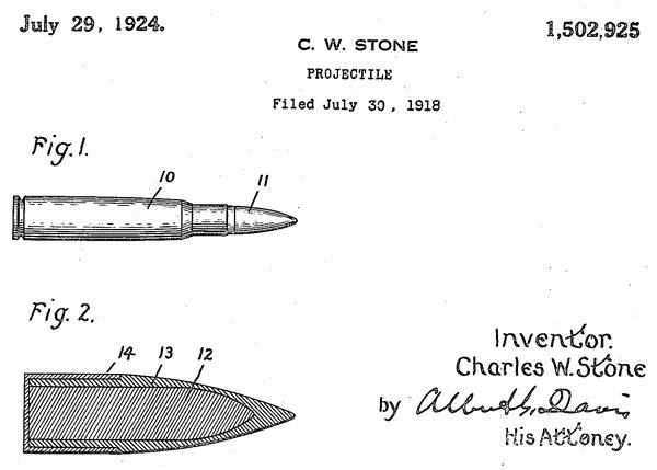 Рисунок бронебойной пули с вольфрамовым сердечником из патента Чарльза В. Стоуна (US Patent №1502925 от 29 июля 1924 г.)