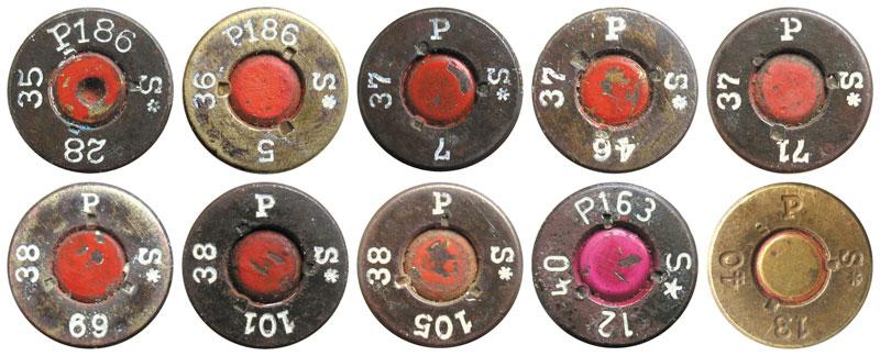Варианты маркировки 7,92-мм патронов с пулями S.m.K.H.