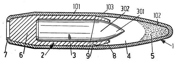 Один из вариантов опытной бронебойно-зажигательной пули, разработанной компанией Staatsbedrijf Artillerie lnrichtingen (US Patent № 3782287 от 1 января 1974 г.)