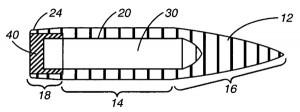 Схема пули с карбид-вольфрамовым сердечником, разработанной компанией CheyTac (US Patent 7 520 224 от 21.04.2009 г.)