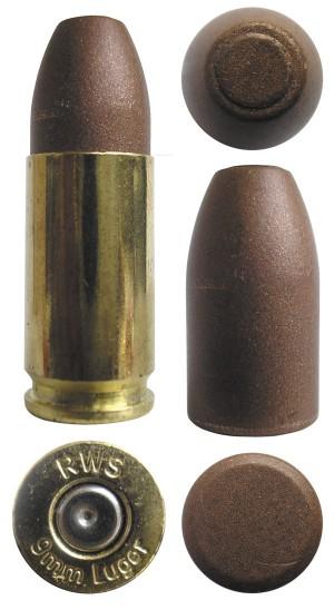 Практический патрон 9х19 с порошковой разрушающейся пулей Copper Matrix Frangible bullet для правозащитных органов, выпущенный компанией Ruag USA