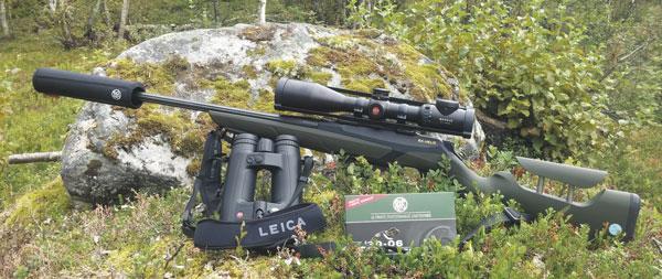 Набор охотника на норвежских оленей: карабин Merkel RX.Helix калибра .30-06 с ложей Alpinist, прицелом Leica Magnus 2,4-16x56i, саунд-модератором A-Tec и сошками Harris, бинокль с дальномером Leica Geovid HD-B 8x42 и патроны RWS Speed Tip Pro