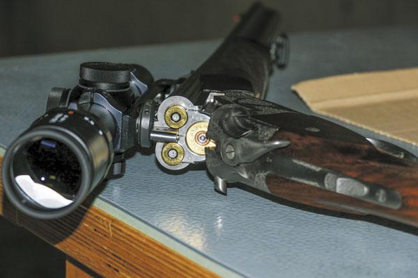 Штуцерный тройник Merkel с прицелом Leica Visus 1-4x24i