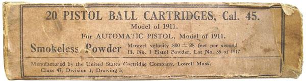 Картонная коробка на 20 патронов Ball Cartridge, Model of 1911, изготовленных компанией United States Cartridge Co. в 1917г.