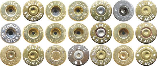 Варианты маркировки на коммерческих патронах .45 АСР: A USA— Armscor USA (CША); AGUILA— Industrias Tecnos S.A. de C.V. (Мексика); AP— Arms Corporation of the Philippines (Филиппины); BLAZER— Blazer Ammunition (США); CBC— Companhia Brasileira de Cartuchos (Бразилия); FC, FEDERAL— Federal Cartridge Co. (США); FIOCCHI USA— Fiocchi of America Inc. (США); GECO— RUAG Ammotec GmbH (Германия); HRTRS— Herters Inc. (США); IMI— Small Caliber Ammunition Division (SCA) of Israel Military Industries Ltd. (Израиль); LC— Lake City Army Ammunitions Plant (США); PMC— Poongsan Metal Manufacturing Company Ltd. (Корея); PMP— Pretoria Metal Pressing Ltd. (ЮАР); SPEER— Omark Industries , CCI-Speer / Sporting Equipment Division (США); TZZ— Small Caliber Ammunition Division (SCA) of Israel Military Industries Ltd. (Израиль); WINCHESTER, W-W — Winchester, Olin Corp. (США); *-* — Starline Brass, Inc. (США)