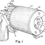Бесшумный подводный пистолет с цилиндрическим магазинным блоком Джона Критчера, Ирвина Барра и Кеннета Мюллера (патент США №3453763 от 8 июля 1969 г.)