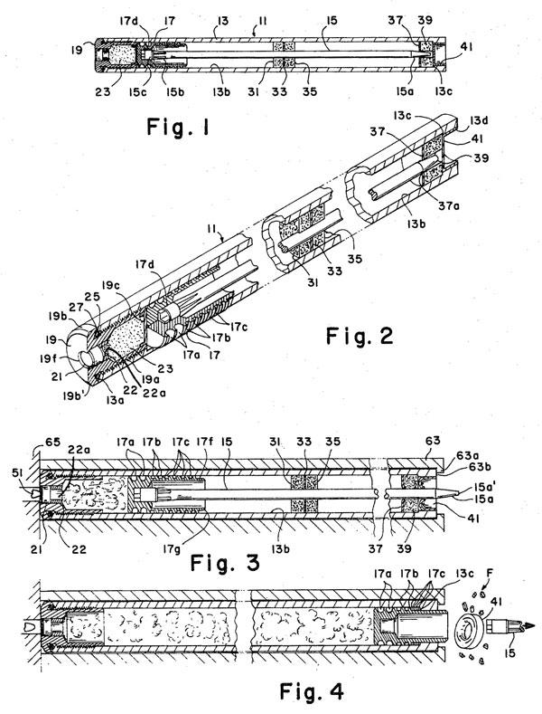 Бесшумный подводный патрон с запиранием пороховых газов для подводного пистолета конструкции Ирвина Барра, Лютервилля и Джона Критчера (патент США №3476048 от 4 ноября 1969 г.)
