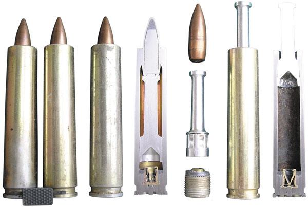 7,62-мм бесшумные патроны ПЗА в обойме, элементы патрона до и после выстрела (общий вид и разрез)