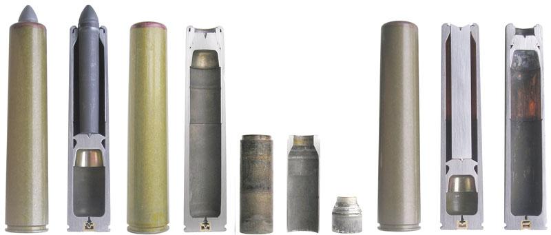 9,1-мм бесшумные патроны ПФАМ/ПМАМ и расположение их элементов до и после выстрела (общий вид и разрез). Между патронами отдельно показана конструкция стального стопорного кольца для толкателя и форма толкателя после выстрела