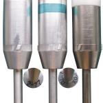 30-мм гранаты для бесшумного пистолета «Буря»: 1 — БМЯ (боевая мина «Ящерица»); 2 — ИМЯ (инертная мина «Ящерица», зеленая полоса на корпусе); 3 — инертная граната для современного российского четырехствольного комплекса (алюминиевый корпус с никелированием и пластиковый баллистический колпак)