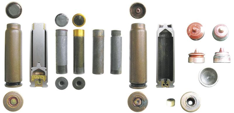 7,62-мм патроны СП-4: общий вид и разрез, пули патрона: штатная; пуля, покрытая лаком; пуля после выстрела; пуля без ведущего пояска; гильза патрона после выстрела (общий вид и разрез); алюминиевый толкатель до и после выстрела