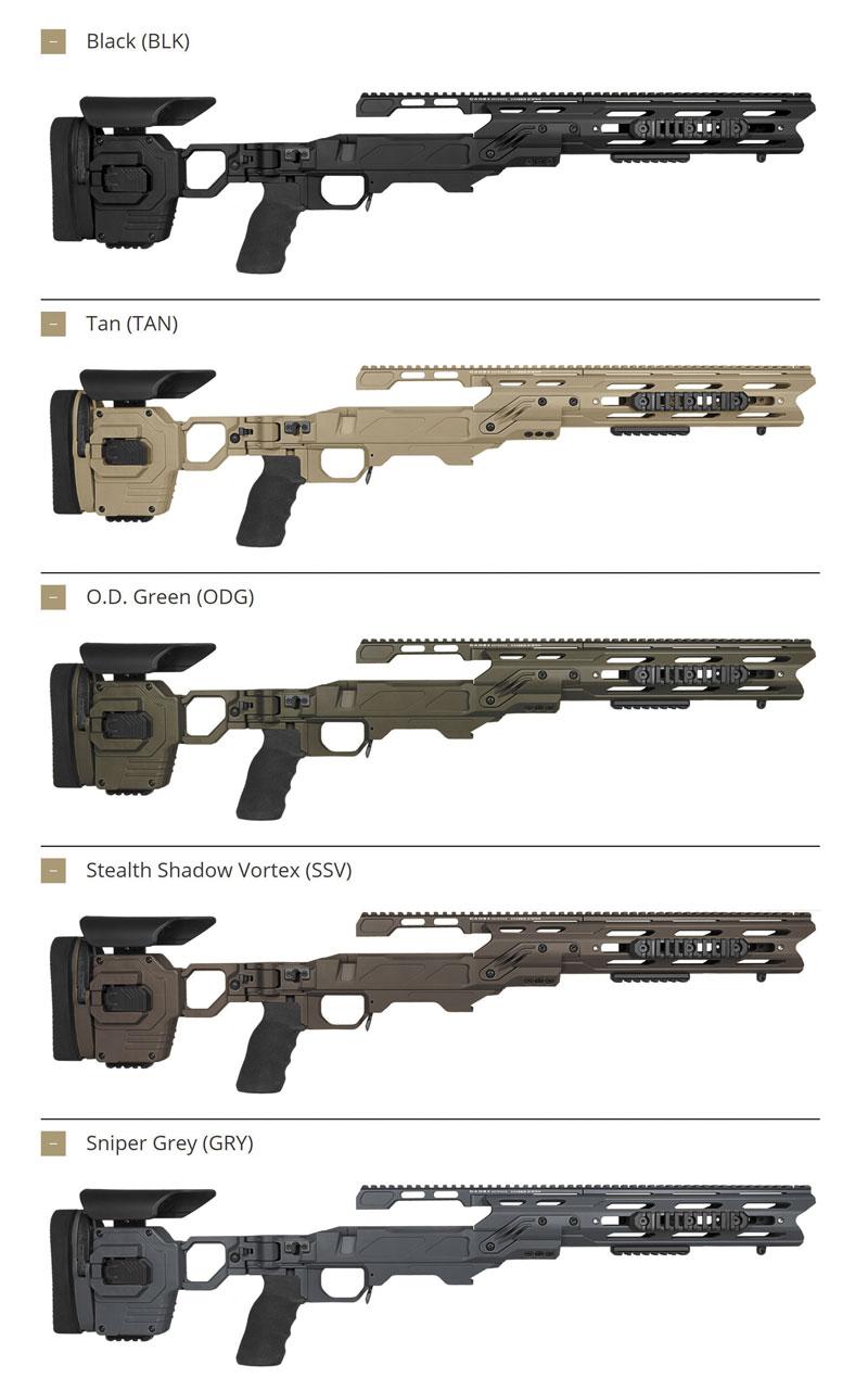 Шасси Cadex Dual Strike выпускаются уже несколько лет для множества оружейных платформ, калибров и в различных расцветках